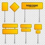 路黄色交通标志 有地方的空白的委员会文本的 大模型 隔绝在透明背景知识标志 免版税图库摄影