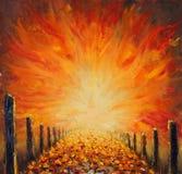 路,在帆布的抽象红灯原始的油画  抽象桥梁 库存照片