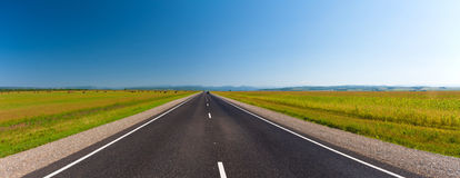 路�z*_在绿色领域的柏油路在美丽的天空下.方式.