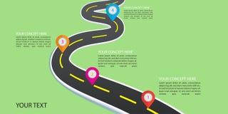 路infographic与五颜六色的别针尖传染媒介例证 库存例证