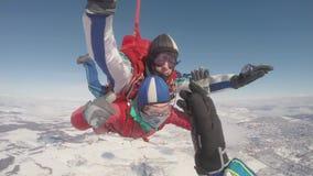 跳伞 自由秋天的跳伞运动员 股票录像