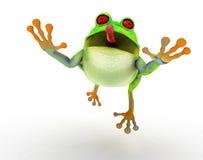 跳印度桃花心木的青蛙 免版税库存图片
