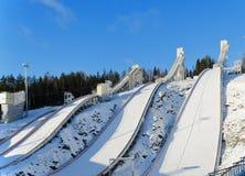 跳台滑雪的小山 库存图片