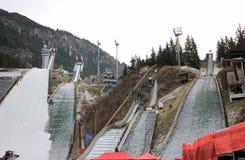 跳台滑雪的体育场 埃丁格竞技场 奥伯斯特多夫,巴伐利亚,德国 免版税库存照片