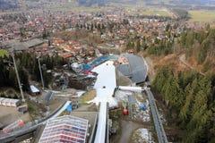 跳台滑雪的体育场 埃丁格竞技场 奥伯斯特多夫,巴伐利亚,德国 免版税图库摄影