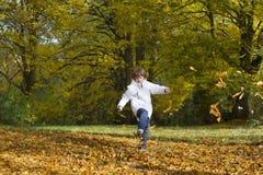 跳和使用与金黄秋叶的男孩 免版税图库摄影