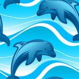 跳在一个无缝的样式的海豚波浪 库存例证