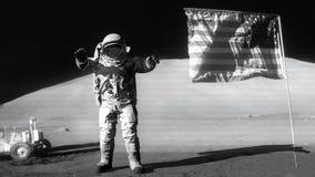 跳在月亮和向美国国旗致敬的宇航员 美国航空航天局装备的这录影的有些元素 库存例证