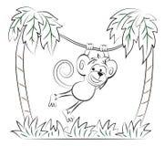 跳在棕榈的猴子 免版税库存照片