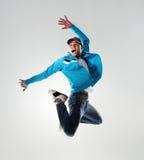 跳在空中的舞蹈演员 库存照片