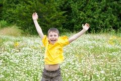 跳在花草甸的男孩 库存图片