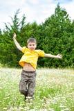 跳在花草甸的男孩 库存照片