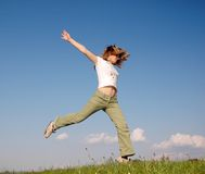 跳妇女 免版税库存照片