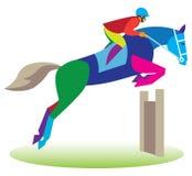 跳栏板 跳跃的马和车手 免版税库存照片
