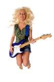 跳的吉他演奏妇女 免版税库存照片