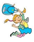 跳的女孩藏品书包 免版税库存照片