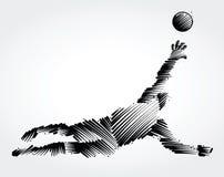 跳的守门员拿到球 免版税图库摄影