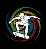 跳的溜冰板者,踩滑板的行动 免版税库存照片