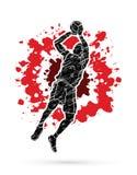 跳的蓝球运动员和准备射击球 免版税库存图片