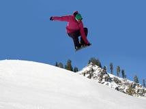 跳的雪板 免版税图库摄影