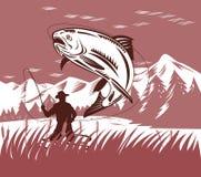 跳的鳟鱼 免版税库存图片
