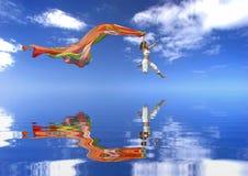 跳的raibow妇女 免版税图库摄影