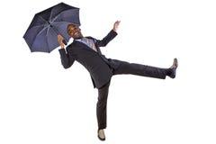 跳舞与伞 免版税图库摄影