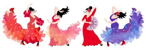 跳舞佛拉明柯舞曲的四个美丽的西班牙女孩隔绝在白色背景 豪华收藏 向量例证