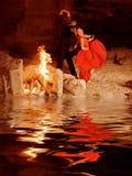 跳舞佛拉明柯舞曲西班牙语的舞蹈演员 免版税库存照片