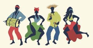 跳舞和演奏拉丁音乐的小组四个人 向量例证