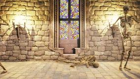 跳舞在一座神秘的城堡的骨骼的无缝的动画 背景棒万圣节月光附注 库存例证