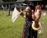 跳舞在传统衣裳弗洛勒斯印度尼西亚的战士 免版税图库摄影