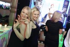 跳舞在党的妇女 免版税图库摄影