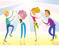 跳舞在party.vector不适的愉快的青年人 免版税库存图片