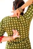 跳舞在全国礼服的妇女印地安舞蹈 Shree kurta 库存照片