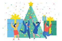 跳舞在圣诞树附近的滑稽的微型商人 新年企业概念 库存例证