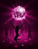 跳舞在夜总会,迪斯科球,闪烁党背景的剪影人 库存例证