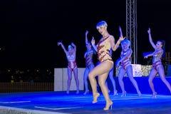 跳舞在迪斯科俱乐部的小组妇女 免版税图库摄影