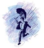 跳舞在雨(传染媒介)中 免版税库存图片