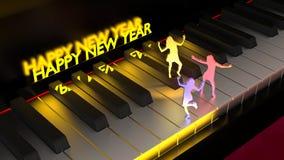 跳舞在琴键新年好的妇女 库存例证