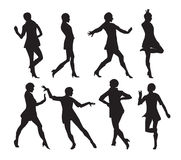 跳舞妇女传染媒介例证的剪影 库存图片
