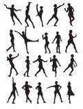 跳舞妇女的剪影 免版税库存照片