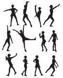 跳舞妇女的剪影 免版税库存图片