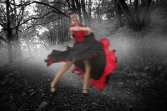 跳舞妇女的综合图象一件红色和黑礼服的 库存图片