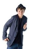 跳舞姿势的逗人喜爱的十几岁的男孩 免版税图库摄影