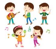 跳舞孩子和孩子与音乐会 免版税库存图片