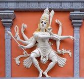 跳舞希瓦墙壁安心雕象的Nataraj 库存照片