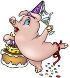 跳舞愉快的猪的生日 免版税库存图片