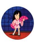 跳舞日本女孩 免版税库存照片