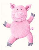 跳舞猪粉红色 免版税库存图片